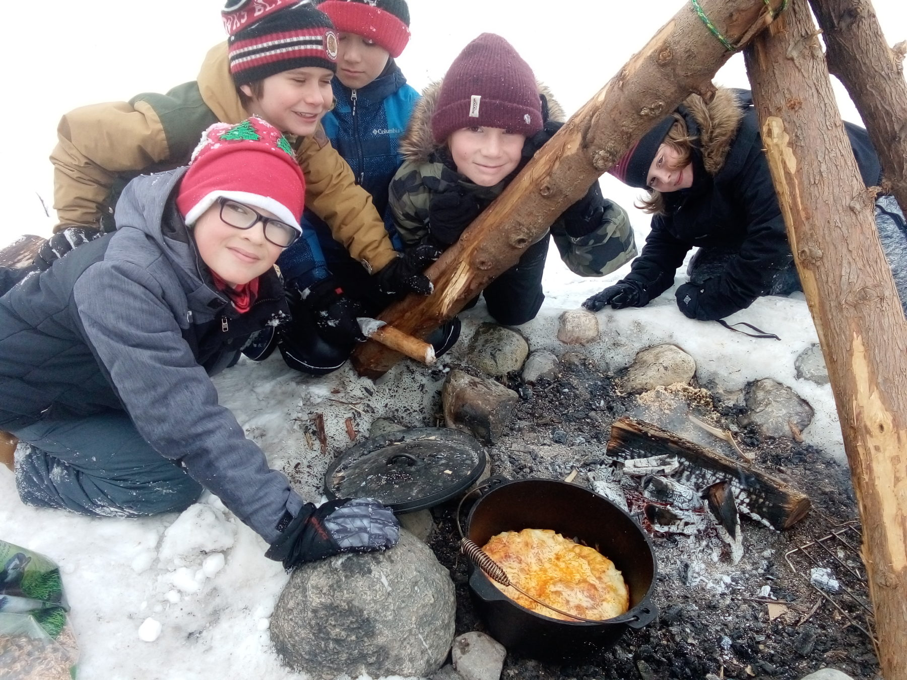 Quinzees, Ice Fishing…. and Pizza!